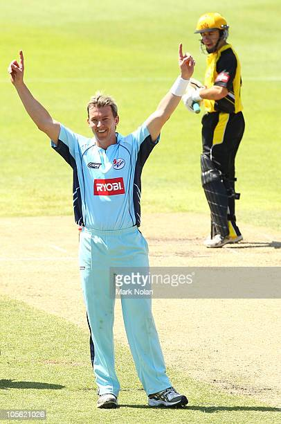 Brett Lee of the Blues celebrates the wicket of Luke Ronchi of the Warriors during the Ryobi One Day Cup match between the New South Wales Blues and...