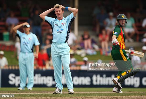 Brett Lee of the Blues looks frustrated during the Ford Ranger Cup match between New South Wales Blues and Tasmania Tigers at North Sydney Oval on...
