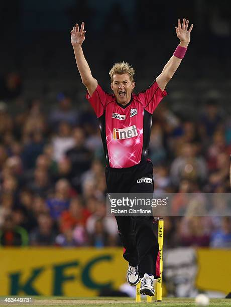 Brett Lee of the Sixers appeals unsuccessfully for the wicket of Dan Harris of the Renegades during the Big Bash League match between the Melbourne...