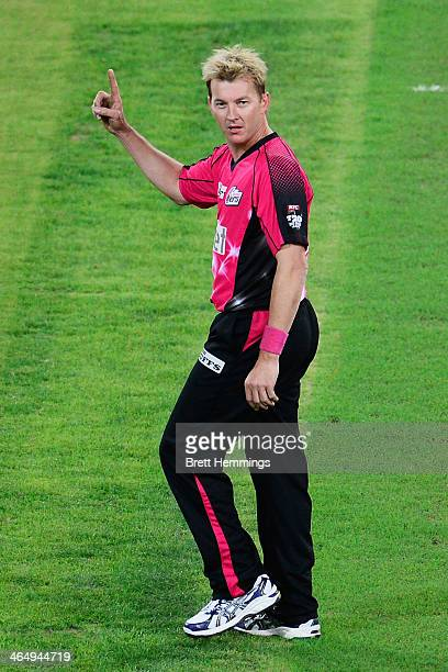 Brett Lee of the Sixers celebrates after taking the wicket of Kurtis Patterson of the Thunder during the Big Bash League match between Sydney Thunder...