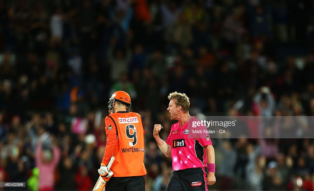 Brett Lee of the Sixers celebrates getting the wicket of Sam Whiteman of the Scorchers during the Big Bash League final match between the Sydney Sixers and the Perth Scorchers at Manuka Oval on January 28, 2015 in Canberra, Australia.