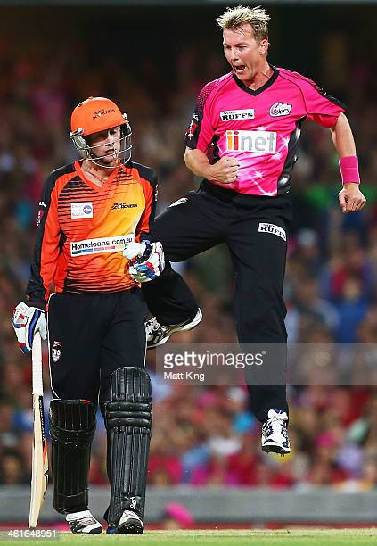 Brett Lee of the Sixers celebrates taking the wicket of Ashton Turner of the Scorchers during the Big Bash League match between the Sydney Sixers and...