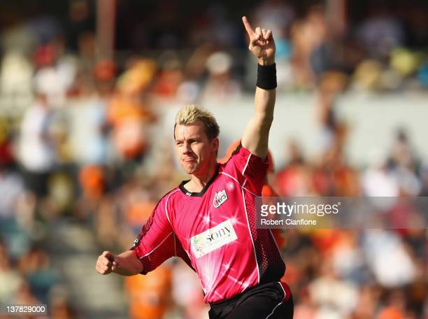 Brett Lee of the Sydney Sixers celebrates taking the wicket of Herschelle Gibbs of the Scorchers during the T20 Big Bash League Grand Final match...