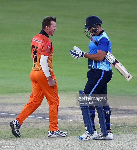Brett Lee of Virgo Super Kings celebrates the wicket of Neil Carter of Leo Lions during the Oxigen Masters Champions League Semi Final match between...