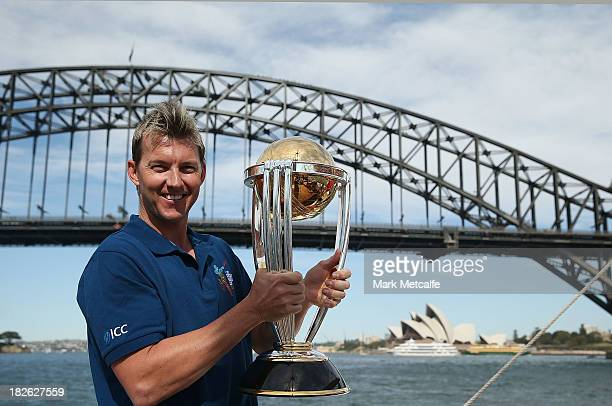 Brett Lee poses on Sydney Harbour with the ICC Cricket World Cup trophy during celebrations to mark 500 days to go until the 2015 ICC Cricket World...