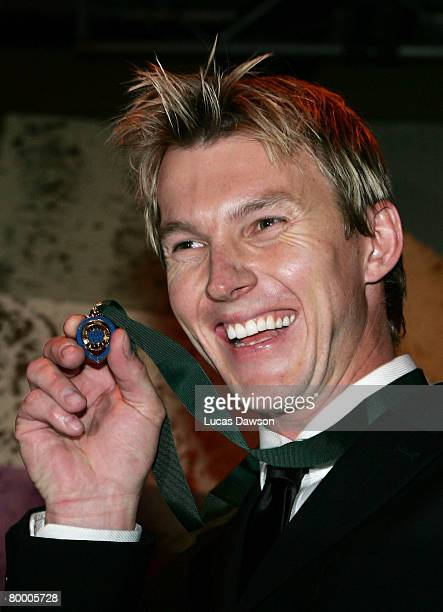 Brett Lee poses with the Allan Border Medal after being named Player of the Year during the 2008 Allan Border Medal at Crown Casino on February 26,...