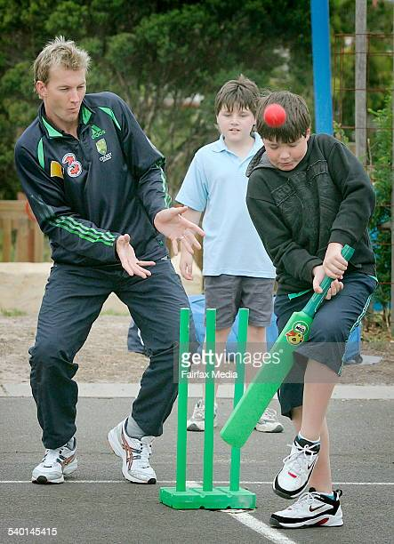 Brett Lee with Travis Dunne during a visit to the Ascot Vale Special School today February 7th 2007 THE AGE Photo by JOHN WOUDSTRA