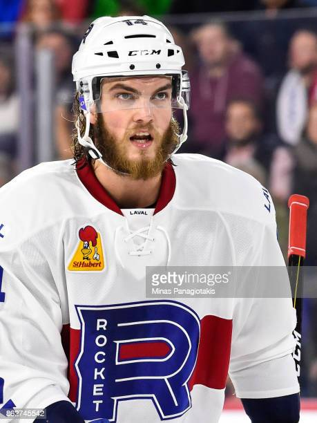 Brett Lernout of the Laval Rocket looks on against the Binghamton Devils during the AHL game at Place Bell on October 13 2017 in Laval Quebec Canada...