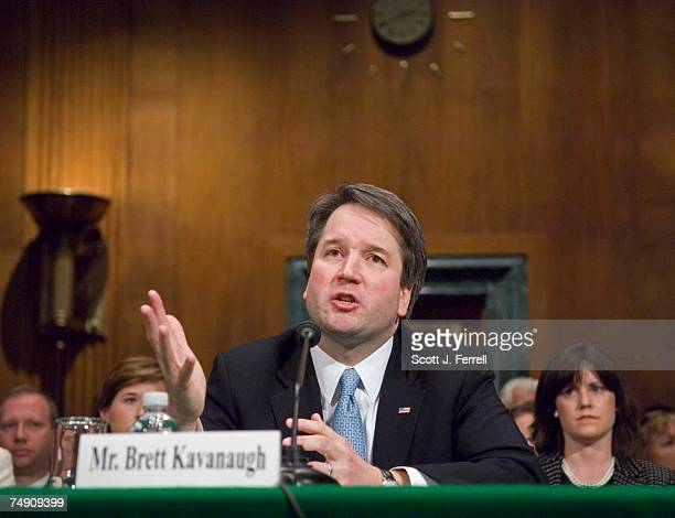 Brett M Kavanaugh who last appeared before the committee in late April 2004 testifies during a second Senate Judiciary confirmation hearing Kavanaugh...