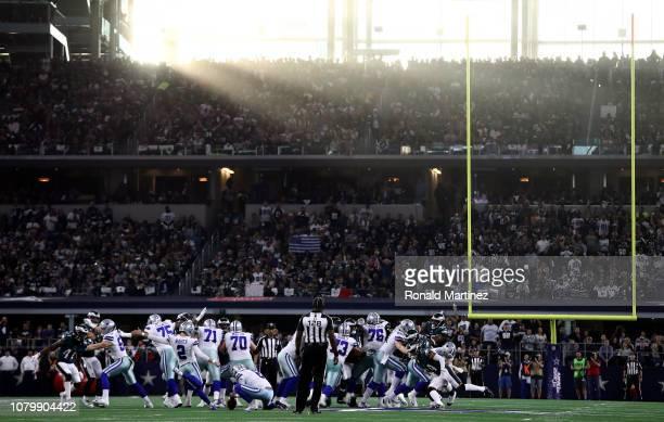 Brett Maher of the Dallas Cowboys kicks a 62yard field goal in the second quarter against the Philadelphia Eagles at ATT Stadium on December 09 2018...