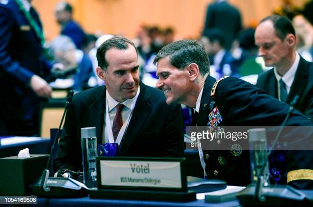 Brett McGurk US special Presidential Envoy for Iraq and Syria is seen with US Central Command commander General Joseph Votel as they attend the 14th...
