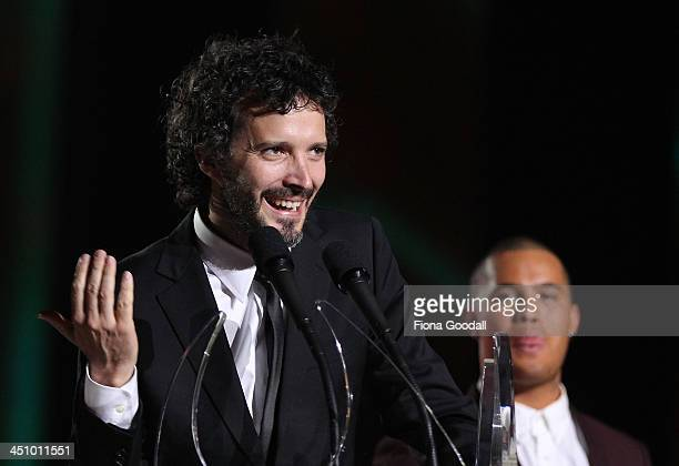 Brett McKenzie of Flight of the Conchords accepts the Vodafone Highest Selling Single award with children who helped him write the lyrics during the...