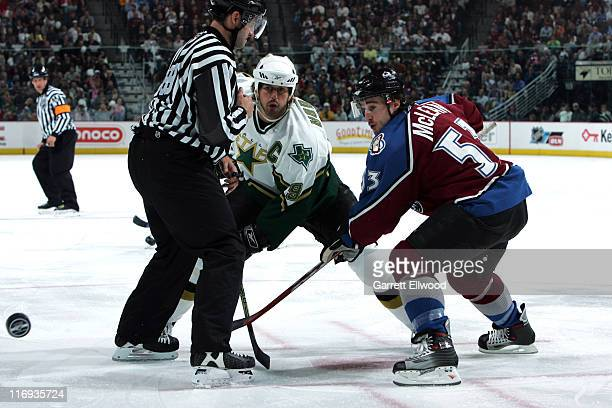 Brett McLean of the Colorado Avalanche faces off against Mike Modano of the Dallas Stars during Game 3 of the Western Conference Quarterfinals on...