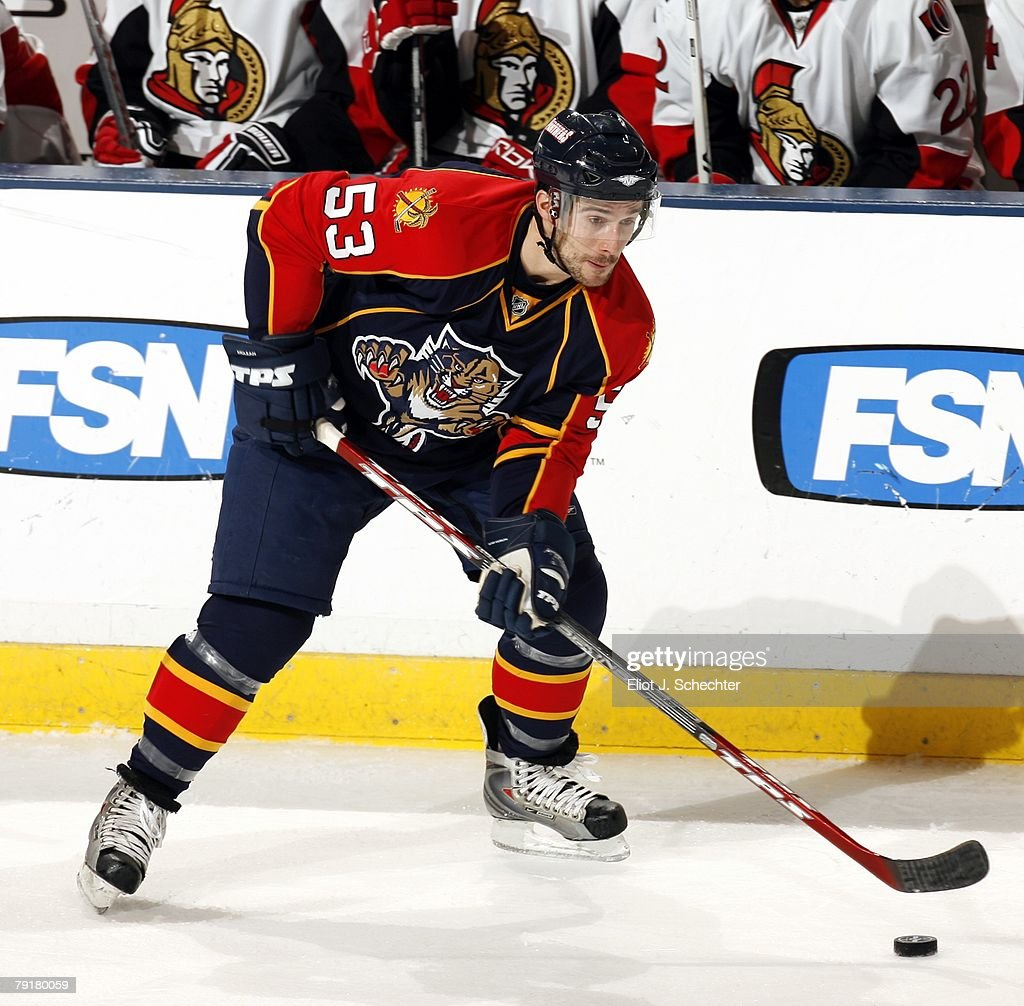 Brett McLean #53 of the Florida Panthers handles the puck against the Ottawa Senators at the Bank Atlantic Center on January 22, 2008 in Sunrise, Florida.