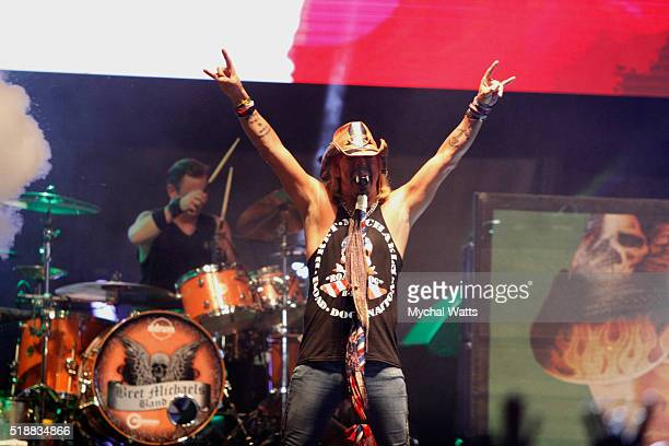 Brett Michaels performs at the Rockfest 80's Concert Day 1 at Markham Park on April 2 2016 in Sunrise Florida