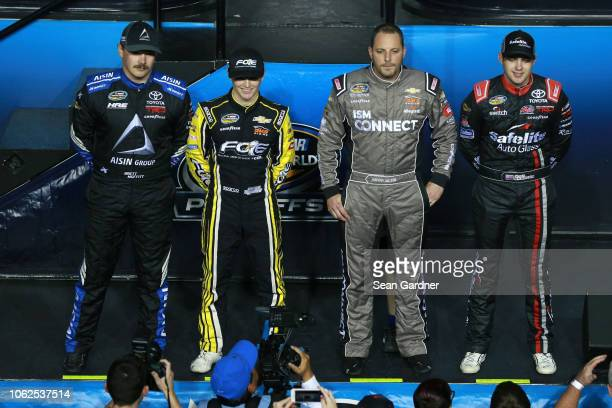 Brett Moffitt driver of the AISIN Group Toyota Justin Haley driver of the Fraternal Order Of Eagles Chevrolet Johnny Sauter driver of the ISM Connect...