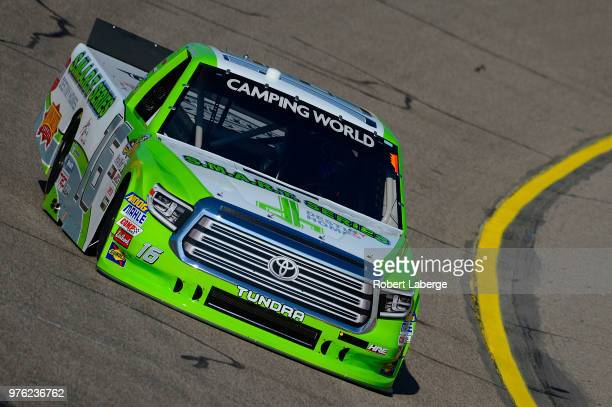 Brett Moffitt driver of the Destiny Homes Toyota drives his truck during practice for the NASCAR Camping World Truck Series MM's 200 presented by...