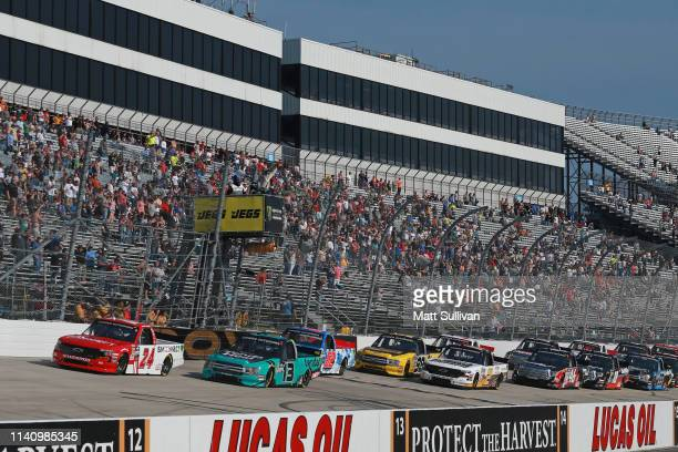 Brett Moffitt driver of the ISM Connect Chevrolet takes the green flag to start the NASCAR Gander Outdoors Truck Series JEGS 200 at Dover...