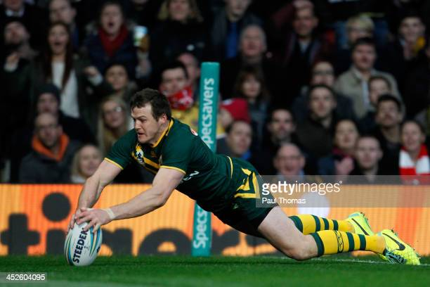 Brett Morris of Australia scores a try during the Rugby League World Cup final between New Zealand and Australia at Old Trafford on November 30 2013...