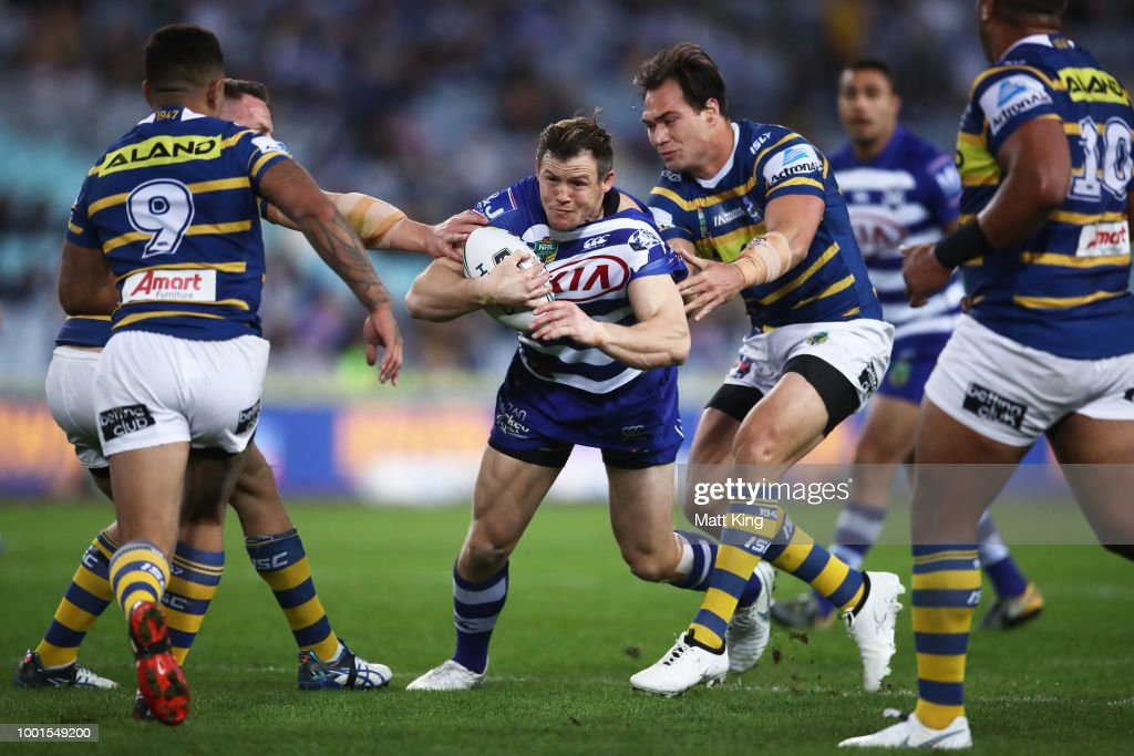 Brett Morris of the Bulldogs is tackled during the round 19 NRL match between the Parramatta Eels and the Canterbury Bulldogs at ANZ Stadium on July 19, 2018 in Sydney, Australia.