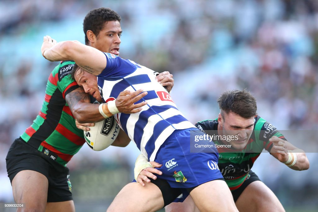 Brett Morris of the Bulldogs is tackled during the round four AFL match between the South Sydney Rabbitohs and the Canterbury Bulldogs at ANZ Stadium on March 30, 2018 in Sydney, Australia.