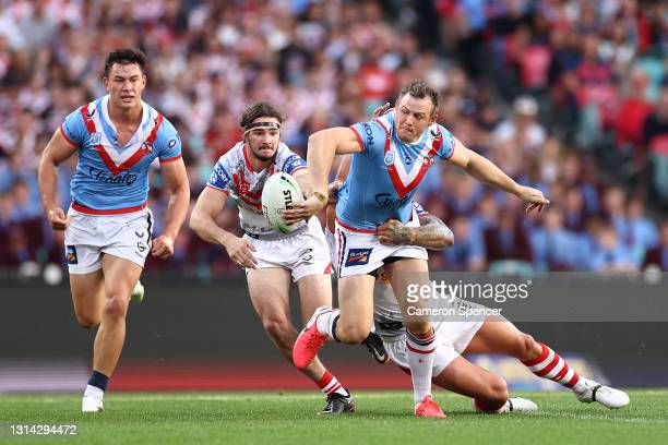 Brett Morris of the Roosters is tackled during the round seven NRL match between the Sydney Roosters and the St George Illawarra Dragons at the...