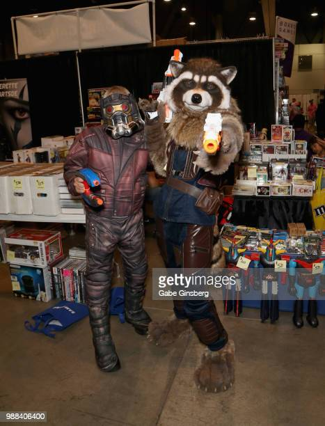 """Brett Mortensen of Utah, dressed as the character Star-Lord, and Josh Morrison of Nevada, dressed as the character Rocket Raccoon from the """"Guardians..."""