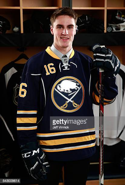 Brett Murray poses for a portrait after being selected 99th overall by the Buffalo Sabres during the 2016 NHL Draft at First Niagara Center on June...