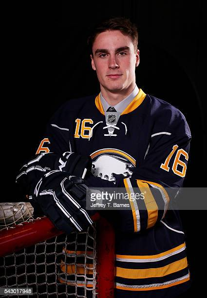 Brett Murray poses for a portrait after being selected 99th overall by the Buffalo Sabres during the 2016 NHL Draft on June 25 2016 in Buffalo New...