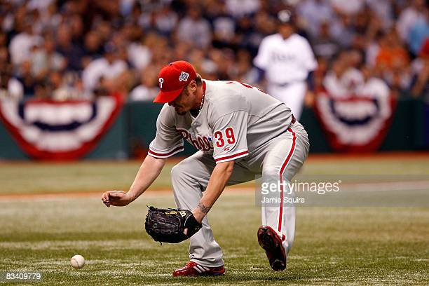 Brett Myers of the Philadelphia Phillies field a RBI sacrifice bunt by Jason Bartlett of the Tampa Bay Rays during the bottom of the fourth innning...