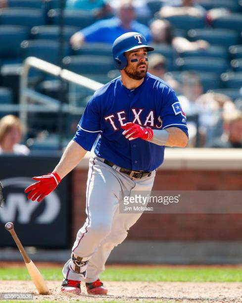 Brett Nicholas of the Texas Rangers in action against the New York Mets at Citi Field on August 9 2017 in the Flushing neighborhood of the Queens...