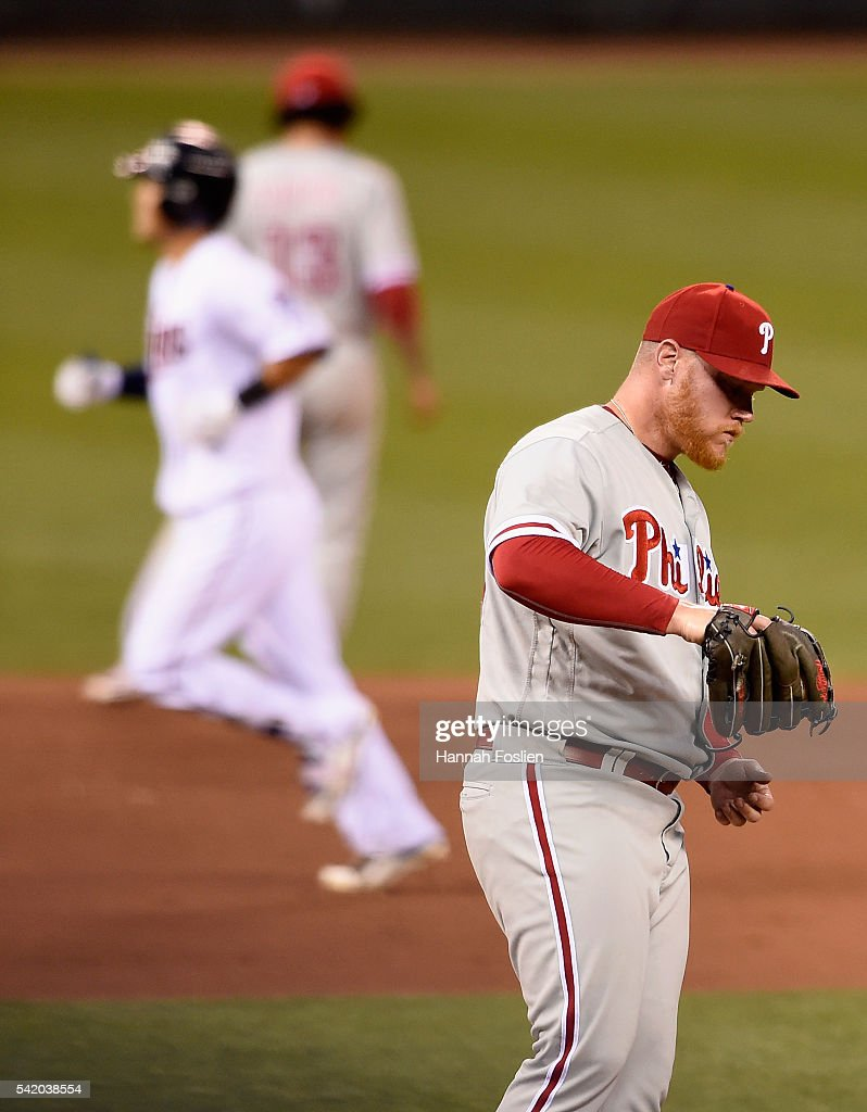 Brett Oberholtzer #34 of the Philadelphia Phillies reacts as Kurt Suzuki #8 of the Minnesota Twins rounds the bases after hitting a two-run home run during the fifth inning of the game on June 21, 2016 at Target Field in Minneapolis, Minnesota. The Twins defeated the Phillies 14-10.