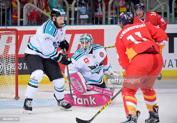 Brett Palin and Michael Ouzas of the Black Wings Linz in action during the game between Duesseldorfer EG and Black Wings Linz on August 22 2015 in...