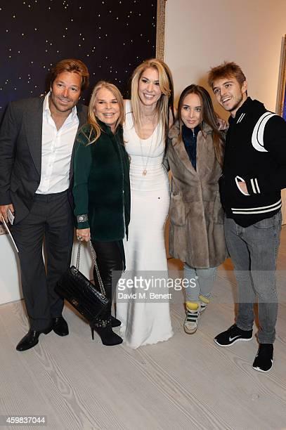 "Brett Palos, Lady Tina Green, Stasha Palos, Chloe Green and Brandon Green attend a private view of ""And The Stars Shine Down"" by Stasha Palos at the..."
