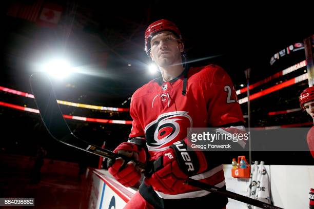 Brett Pesce of the Carolina Hurricanes enters the ice prior to an NHL game against the Nashville Predators on November 26 2017 at PNC Arena in...