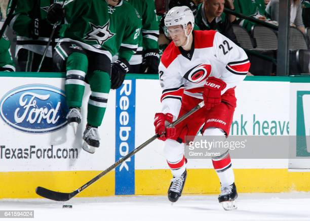 Brett Pesce of the Carolina Hurricanes handles the puck against the Dallas Stars at the American Airlines Center on February 11 2017 in Dallas Texas