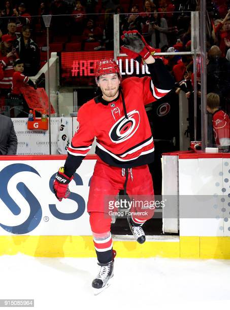 Brett Pesce of the Carolina Hurricanes is name 2nd star of the game following an NHL game against the Montreal Canadiens on February 1 2018 at PNC...
