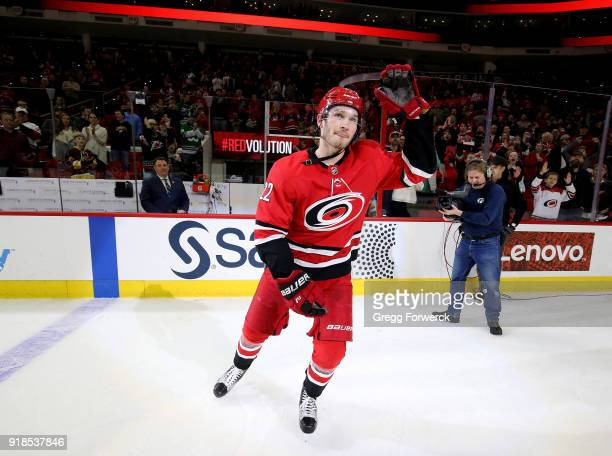 Brett Pesce of the Carolina Hurricanes is named star of the game folowing an NHL game against the Vancouver 'nCanucks on February 9 2018 at PNC Arena...