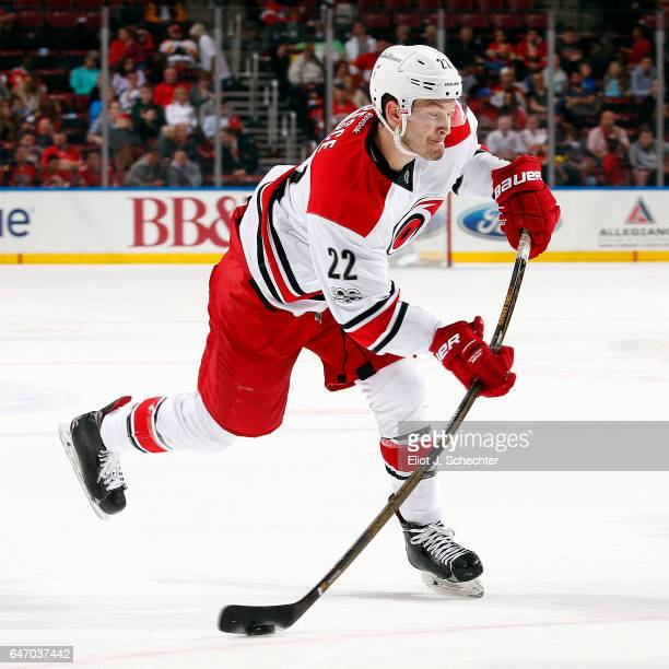 Brett Pesce of the Carolina Hurricanes shoots the puck against the Florida Panthers at the BBT Center on February 28 2017 in Sunrise Florida