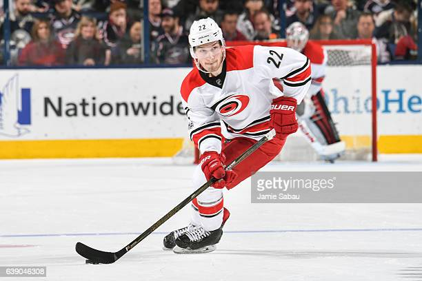 Brett Pesce of the Carolina Hurricanes skates against the Columbus Blue Jackets on January 17 2017 at Nationwide Arena in Columbus Ohio