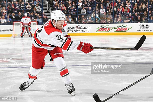 Brett Pesce of the Carolina Hurricanes skates against the Columbus Blue Jackets on January 21 2017 at Nationwide Arena in Columbus Ohio