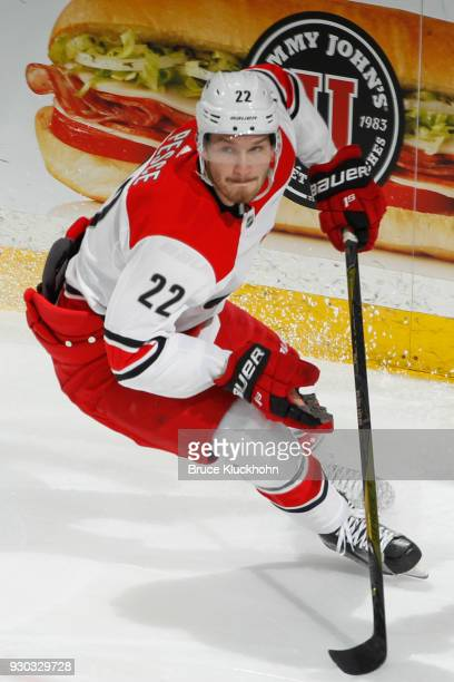 Brett Pesce of the Carolina Hurricanes skates against the Minnesota Wild during the game at the Xcel Energy Center on March 6 2018 in St Paul...