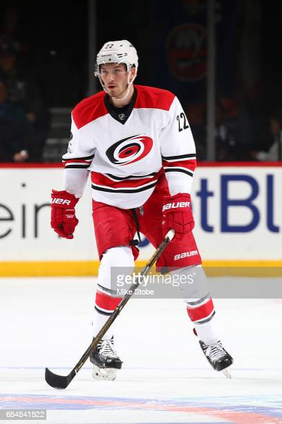 Brett Pesce of the Carolina Hurricanes skates against the New York Islanders skates against the Carolina Hurricanes at the Barclays Center on March...