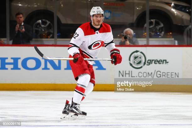 Brett Pesce of the Carolina Hurricanes skates against the New York Islanders sat Barclays Center on March 18 2018 in New York City Carolina...