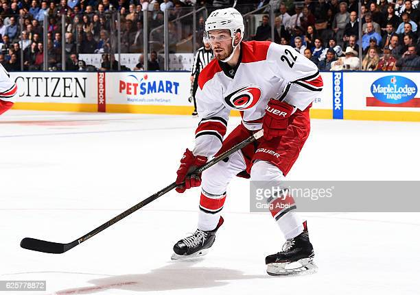 Brett Pesce of the Carolina Hurricanes skates against the Toronto Maple Leafs during the first period at the Air Canada Centre on November 22 2016 in...