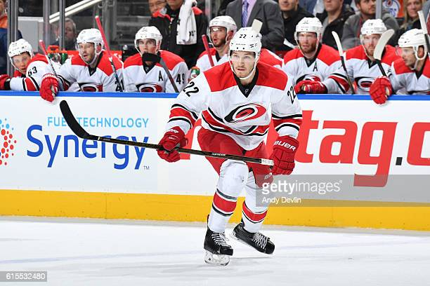 Brett Pesce of the Carolina Hurricanes skates during the game against the Edmonton Oilers on October 18 2016 at Rogers Place in Edmonton Alberta...