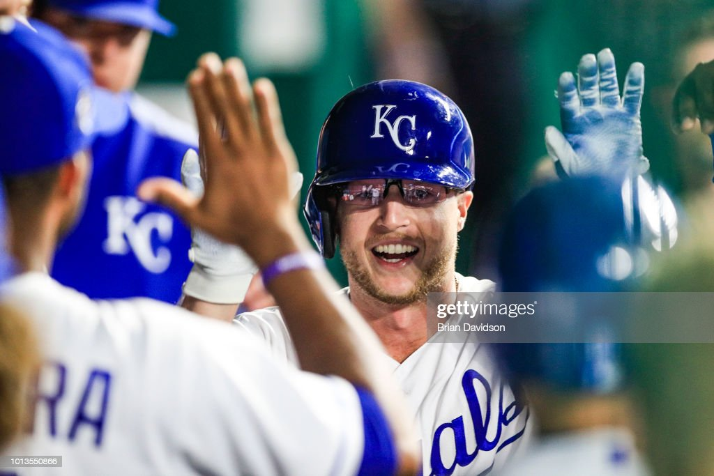 Brett Phillips #14 of the Kansas City Royals celebrates scoring a run during the eighth inning against the Chicago Cubs at Kauffman Stadium on August 8, 2018 in Kansas City, Missouri.