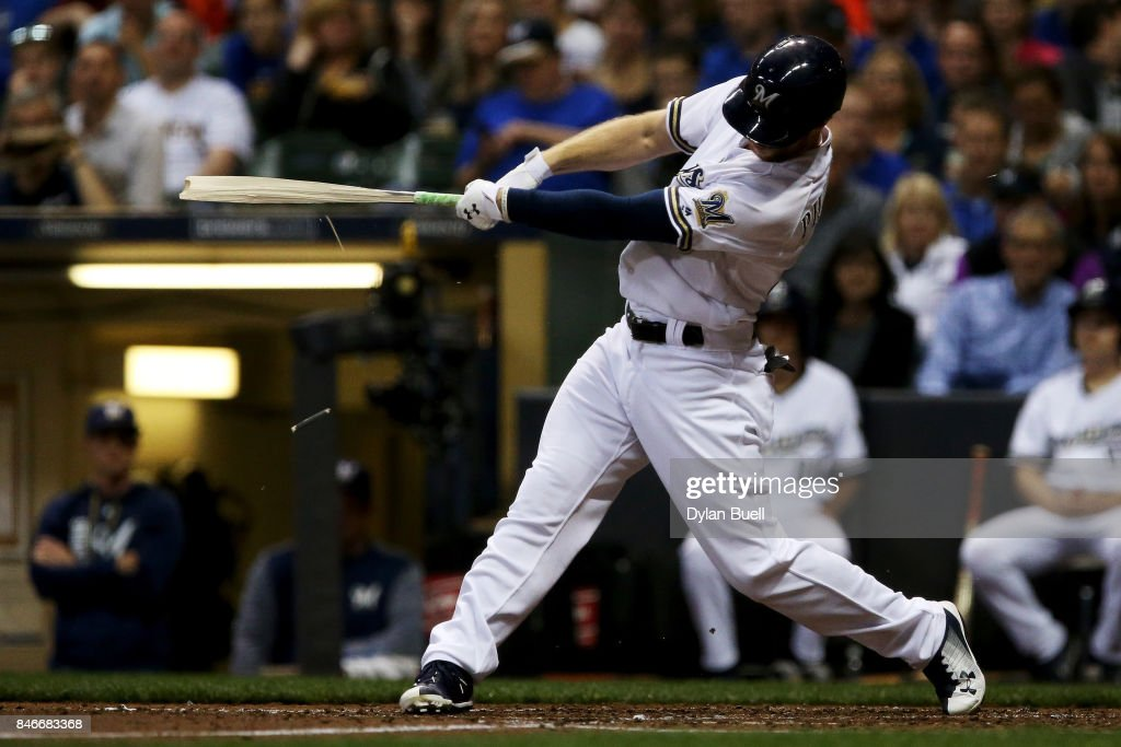 Brett Phillips #33 of the Milwaukee Brewers breaks his bat hitting a single in the third inning against the Pittsburgh Pirates at Miller Park on September 13, 2017 in Milwaukee, Wisconsin.