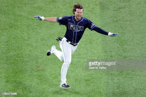 Brett Phillips of the Tampa Bay Rays celebrate after hitting a ninth inning two-run walk-off single to defeat the Los Angeles Dodgers 8-7 in Game...