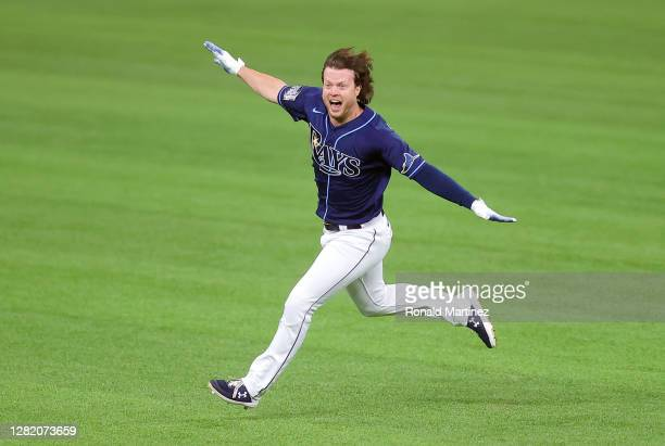 Brett Phillips of the Tampa Bay Rays celebrates after hitting a ninth inning two-run walk-off single to defeat the Los Angeles Dodgers 8-7 in Game...